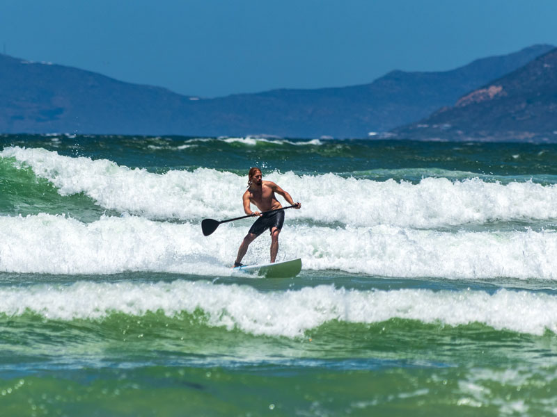 A man surfing on a stand up paddle board